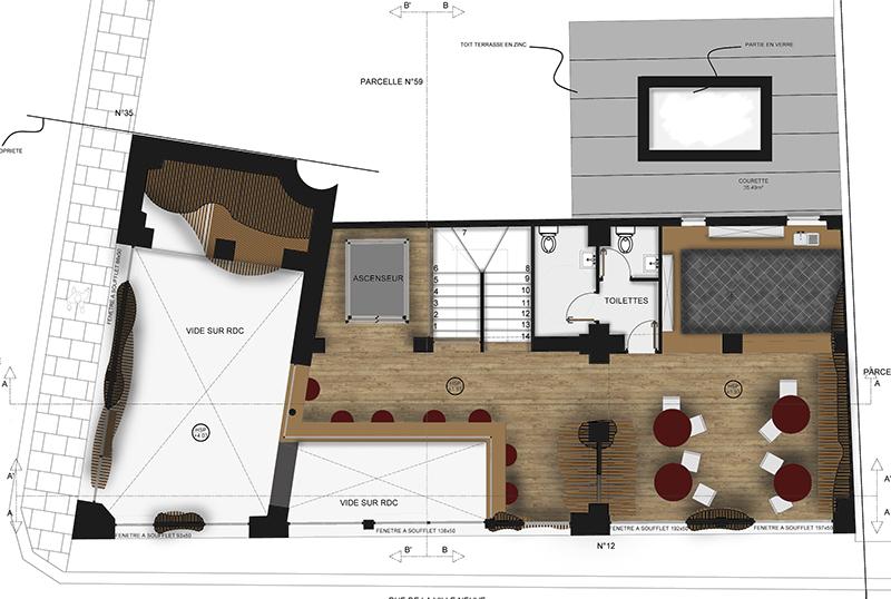 Projet boulangerie Architecture interieur plan mezzanine